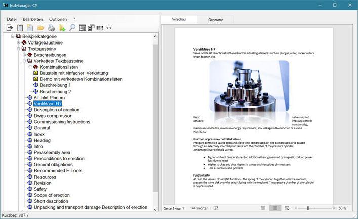Textbausteinverwaltung mit Textbaustein-Vorschau