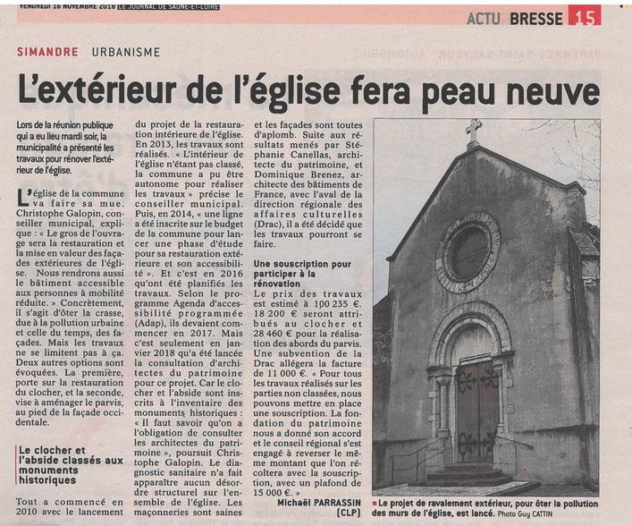 Article du vendredi 16 novembre 2018. Le journal de Soane-et-Loire.
