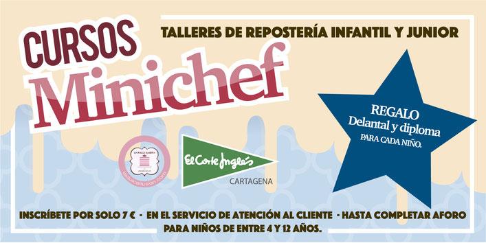 Talleres de repostería y cursos minichef de La Dulce Ilusión y el Corte Ingles en Cartagena, Murcia
