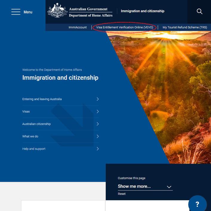 オーストラリア内務省公式サイト トップページ