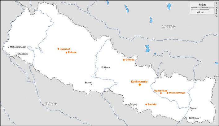 Nepalkarte mit eingezeichneten Herkunftsdistrikte