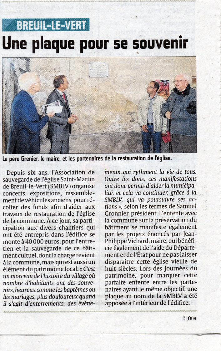 20 setpembre 2016 - Le Courrier Picard - Une plaque pour se souvenir.