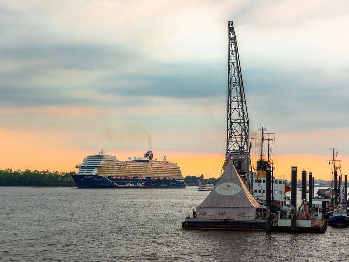 """""""Mein Schiff 1"""" wird vor dem Parkhafen gedreht um anschließend am Athabaska - Kai festzumachen"""
