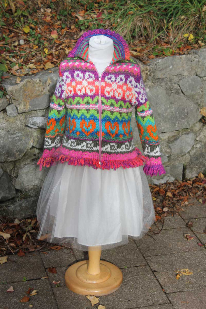 Second-Hand: Bunte, winterliche Kinderstrickjacke