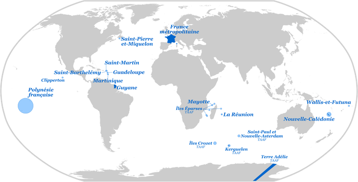 Départements et territoires d'outre-mer - Par Superbenjamin - Dérivé de : Blank Map World Secondary Political Divisions - CC BY-SA 4.0