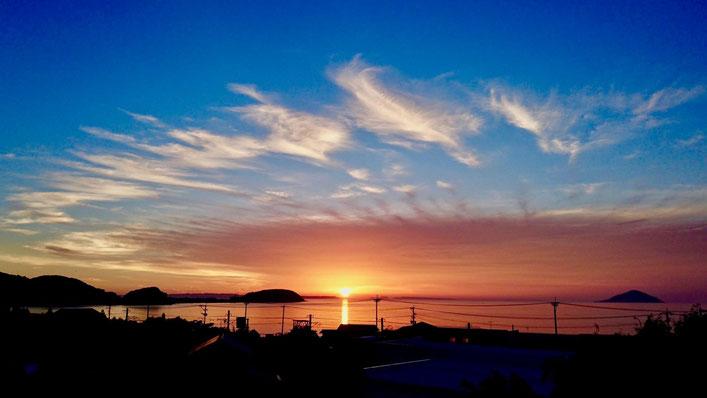 深江海岸の夕日 Sunset and beach