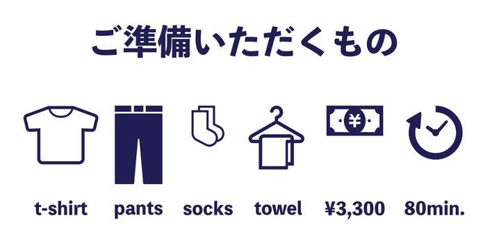 パーソナルトレーニング(個人レッスン)の体験レッスンで必要なものは、動きやすい服装(Tシャツとジャージなど)、履き替え用の靴下、普通サイズのタオル、体験レッスンの料金3,300円です。お支払いは現金またはPayPayでも可能です。体験レッスンのお時間は80分程度です。