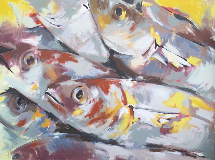 Fische V - Acryl auf Leinwand - 120x160 cm - 2014