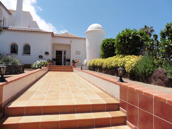Gefliester Eingangsbereich mit dem Haus im Hintergrund vom Bild und seitlichen Blumenrabatten.