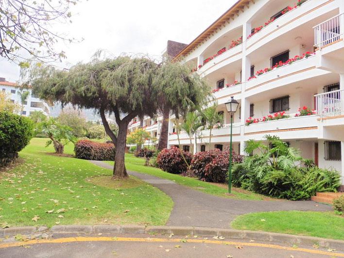 Grünanlage vor dem Wohnblock in dem die Mietwohnung sich befindet.