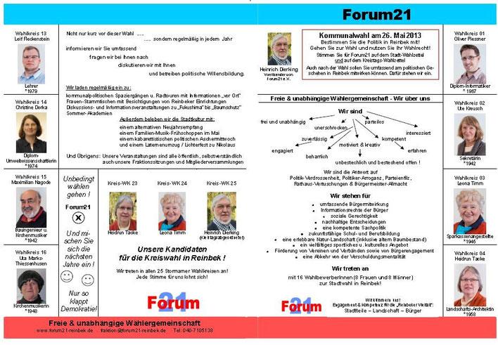 Forum21 Prospekt Stadtwahl Reinbek 2013