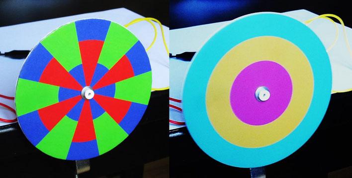 Synthèse additive sur un disque en rotation (secteurs rouge, vert et bleu).