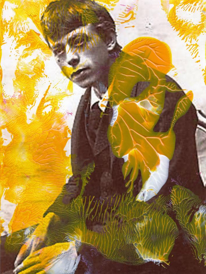 Pedro Meier – Paraphrasen zu Robert Walser Nr. 26 – Monotypie / Malerei, Mischtechnik über Porträt – Work of Art 2017 by © Pedro Meier Multimedia Artist / ProLitteris Zürich – (Visarte, Bangkok Art-Group) – Gerhard Meier-Weg Niederbipp Bern – Switzerland