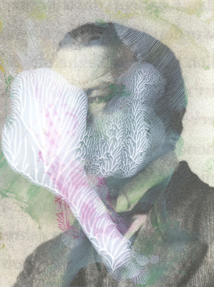 Pedro Meier – Paraphrasen zu Robert Walser Nr. 22 – Monotypie / Malerei, Mischtechnik über Porträt, 2017 – Work of Art/Photo by © Pedro Meier Multimedia Artist/ProLitteris – (Visarte, Bangkok Art-Group) Gerhard Meier-Weg Niederbipp Bern – Switzerland