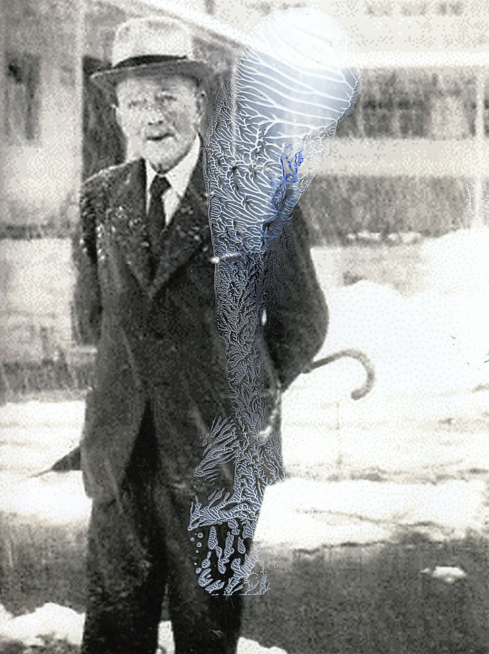 Pedro Meier – Paraphrasen zu Robert Walser Nr. 31 – Monotypie / Malerei, Mischtechnik über Porträt, 2017 – Work of Art/Photo by © Pedro Meier Multimedia Artist/ProLitteris – (Visarte, Bangkok Art-Group) Gerhard Meier-Weg Niederbipp Bern – Switzerland