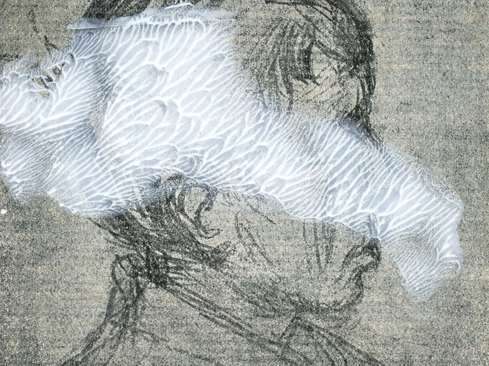 Pedro Meier – Paraphrasen zu Robert Walser Nr. 15 – Monotypie / Malerei, Mischtechnik über Porträt, 2017 – Work of Art/Photo by © Pedro Meier Multimedia Artist/ProLitteris – (Visarte, Bangkok Art-Group) Gerhard Meier-Weg Niederbipp Bern – Switzerland