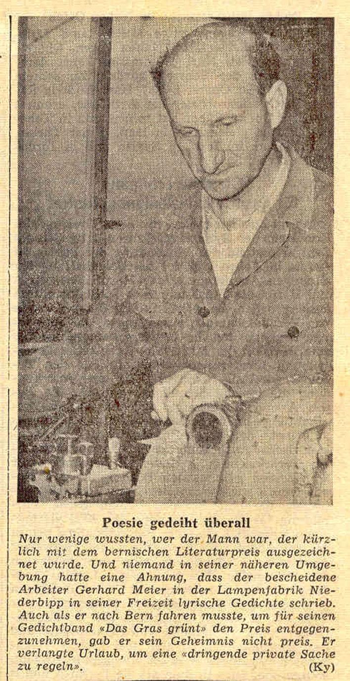 Pedro Meier – Gerhard Meier Berner Literaturpreis 1964 für »Das Gras grünt« – Solothurner Zeitung 24.12.1964 –Archiv Pedro Meier Multimedia Artist/ProLitteris Zürich – Gerhard Meier-Weg Niederbipp Amrain Bern Oberaargau Jurasüdfuss. (Suhrkamp & Zytglogge)