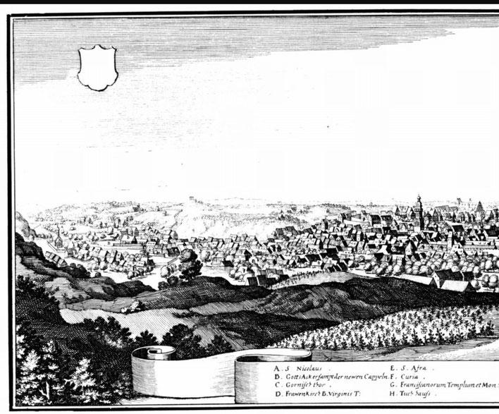 Ausschnitt aus der Stadtansicht Meißens von Matthäus Merian (um 1650) Quelle: wikimedia commons (Bild verlinkt)