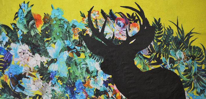 Dear Deer / varnish on fabric / 130 x 50cm / 2017