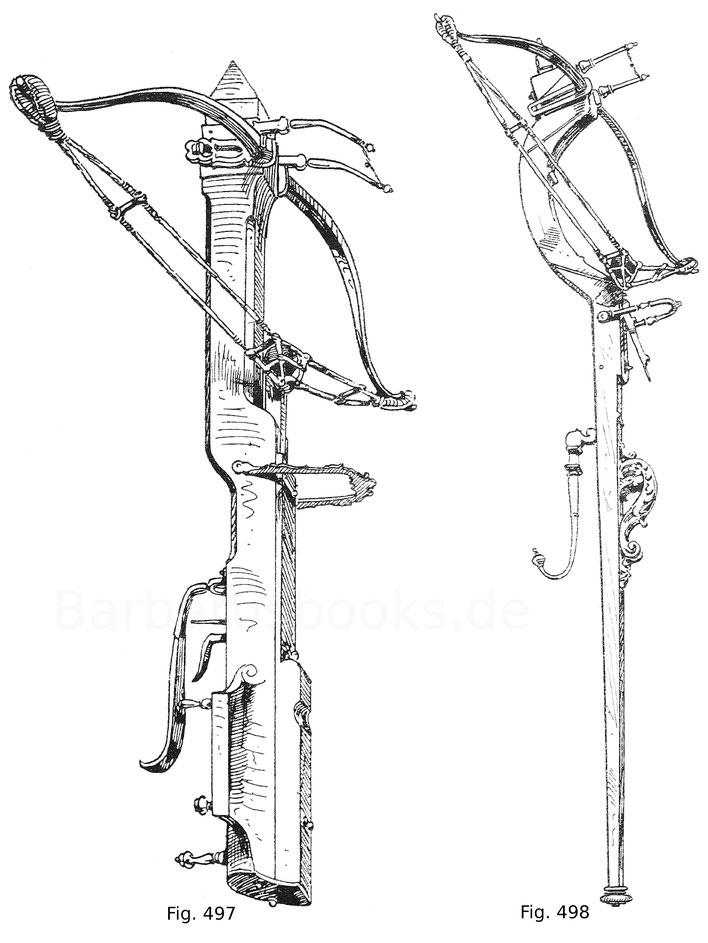 Fig. 497. Balläster mit in der Säule eingelassenem Spannmechanismus, der in einer Zahnstange besteht, die mittelst einer Kurbel am Kolben bewegt wird. Das Objekt besitzt die vollständige Besehnung, zweiteilig, gespannelt und mit Kugelsack. Die vordere Zie