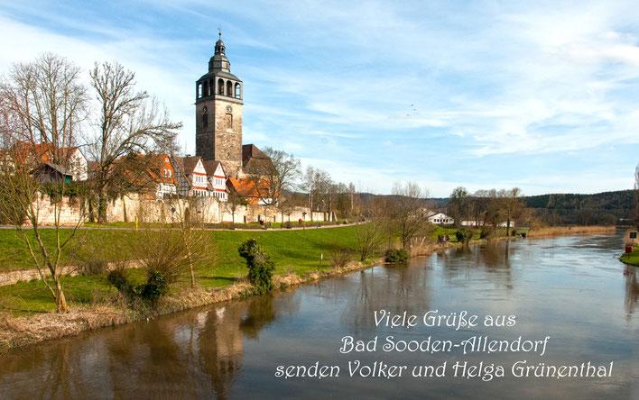 Grüße aus Bad Soden Allendorf. Werra mit Stadtkirche