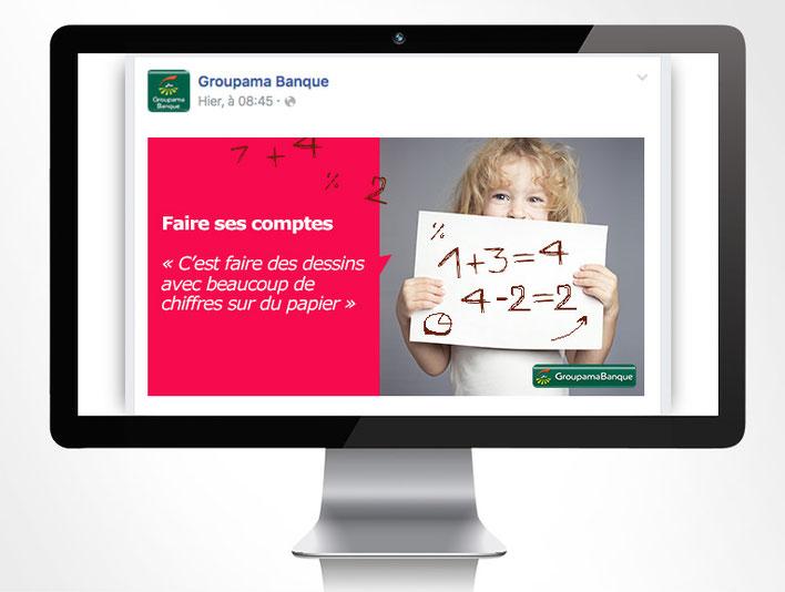 LSZ Communication - Graphiste - Directrice artistique freelance Nantes - #lepetitoiseaudelacom - Groupama - Banque - Assurance - Saga - Post Facebook - Agence Caribou