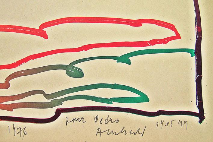 Pedro Meier – Pierre Alechinsky – Bild 1976 mit persönlicher Widmung »pour Pedro Alechinsky 14.05 MM« 2000 Musée Jenisch Vevey – Fondation Nestlé pour l'Art – Cobra Museum – © Pedro Meier Multimedia Artist Gerhard Meier Weg Niederbipp Oberaargau Bern no.4