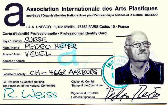 Pedro Meier – 2005 UNESCO International Identity Card for Professional Artists– AIAPI | UNESCO. Archiv Pedro Meier – Multimedia Artist/ProLitteris Zürich Visarte Schweiz – Basel Art Berlin – Bangkok Art Group – Gerhard Meier-Weg Niederbipp Bern Oberaargau