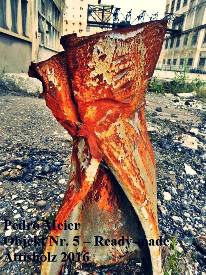 Pedro Meier – Skulptur Nr.15 – ArtCampus recording Attisholz Solothurn. Minotaurus Projekt – Ready-made Skulpturelle Positionen. Photo 2016 © Pedro Meier/ProLitteris Zürich Multimedia Artist, Bangkok Art-Group. Gerhard Meier-Weg Niederbipp Bern Oberaargau