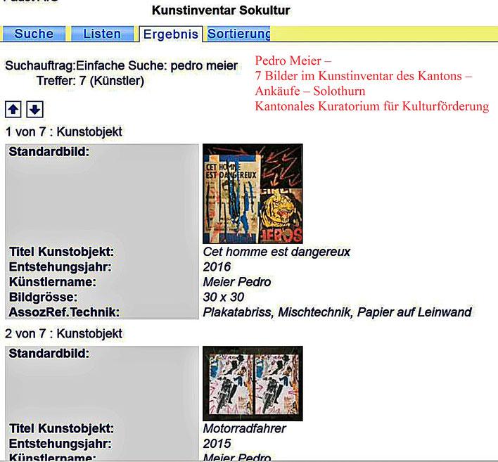 Pedro Meier – Kunstinventar Kanton Solothurn Kunstsammlung online – Kuratorium für Kulturförderung SOKULTUR– 7 Bilder Ankäufe – Pedro Meier – Multimedia Artist/ProLitteris Zürich – Visarte – Bangkok Art Group – Gerhard Meier-Weg Niederbipp Bern Oberaargau