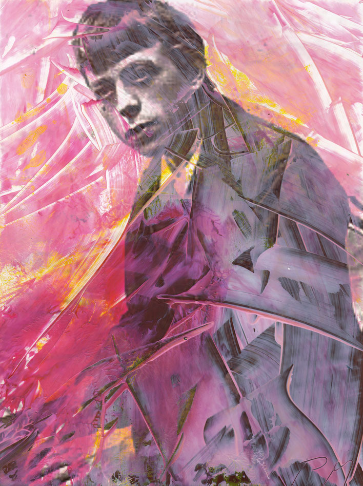 Pedro Meier – Paraphrasen zu Robert Walser Nr. 25 – Monotypie / Malerei, Mischtechnik über Porträt – Work of Art 2017 by © Pedro Meier Multimedia Artist / ProLitteris Zürich – (Visarte, Bangkok Art-Group) – Gerhard Meier-Weg Niederbipp Bern – Switzerland
