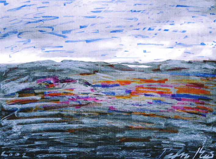 Pedro Meier – Grönland LandArt Projekt – Auf dem Weg zum Kangerlussuaq Eiscap – Öl auf Papier Nr. 03 2002 – Foto © Pedro Meier Multimedia Artist/ProLitteris Zürich, Visarte Kunstverein – Bangkok Art Group – Gerhard Meier-Weg Niederbipp Bern Oberaargau