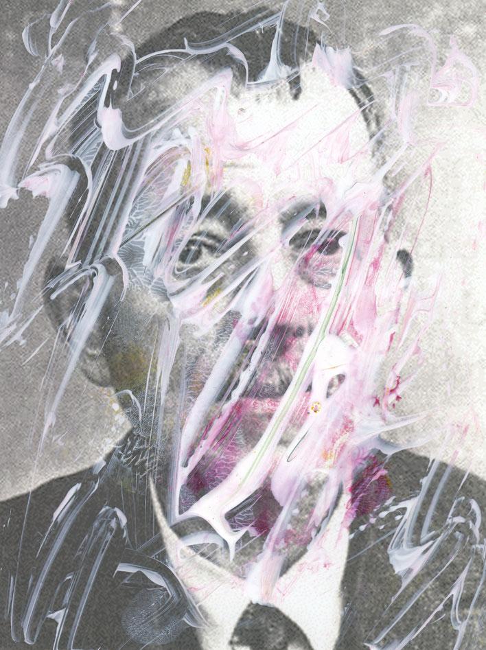 Pedro Meier – Paraphrasen zu Robert Walser Nr. 29 – Monotypie / Malerei, Mischtechnik über Porträt – Work of Art 2017 by © Pedro Meier Multimedia Artist / ProLitteris Zürich – (Visarte, Bangkok Art-Group) – Gerhard Meier-Weg Niederbipp Bern – Switzerland