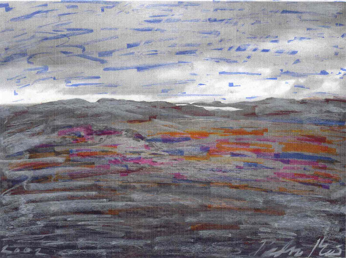 Pedro Meier – Grönland LandArt Projekt – Auf dem Weg zum Kangerlussuaq Eiscap – Öl auf Papier Nr. 14 2002 – Foto © Pedro Meier Multimedia Artist/ProLitteris Zürich, Visarte Kunstverein – Bangkok Art Group – Gerhard Meier-Weg Niederbipp Bern Oberaargau