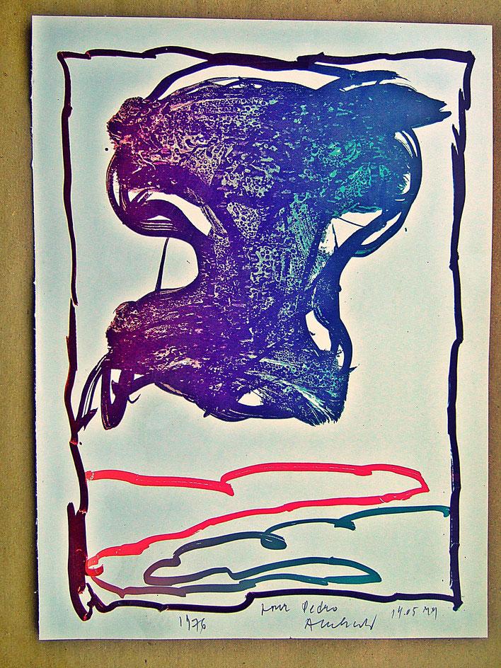 Pedro Meier – Pierre Alechinsky – Bild 1976 mit persönlicher Widmung »pour Pedro Alechinsky 14.05 MM« 2000 Musée Jenisch Vevey – Fondation Nestlé pour l'Art – Cobra Museum – © Pedro Meier Multimedia Artist Gerhard Meier Weg Niederbipp, Oberaargau Bern