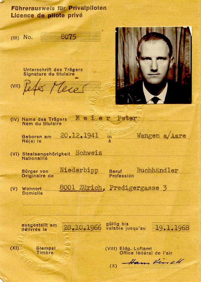 Pedro Meier – Flugzeug-Brevet 1966 – Führerausweis für Privatpiloten No.8075 – Landflugzeuge – 3 Personen bis 2000 kg. – Archiv Pedro Meier – Multimedia Artist/ProLitteris Zürich – Visarte – Bangkok Art Group – Gerhard Meier-Weg Niederbipp Bern Oberaargau