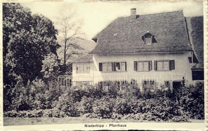 Niederbipp alias Amrain – Pfarrhaus mit Garten von Süden – alte Postkarte um 1925 – Archiv © Pedro Meier Multimedia Artist / ProLitteris Zürich – Gerhard Meier-Weg, Atelier – Niederbipp