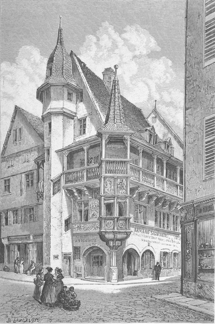 Maison Pfister in der Stadt Colmar, Frankreich im Jahr 1889