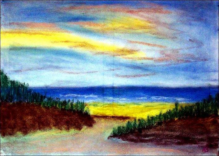 Strandlandschaft-Pastellmalerei-Meer-Wellen-StrandDünen-Gras-Himmel-Wolken-Pastellbild-Pastellgemälde-Landschaft