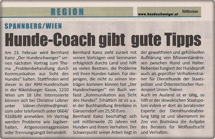 RUNDschau 29.01.2013 Hunde-Coach gibt gute Tipps