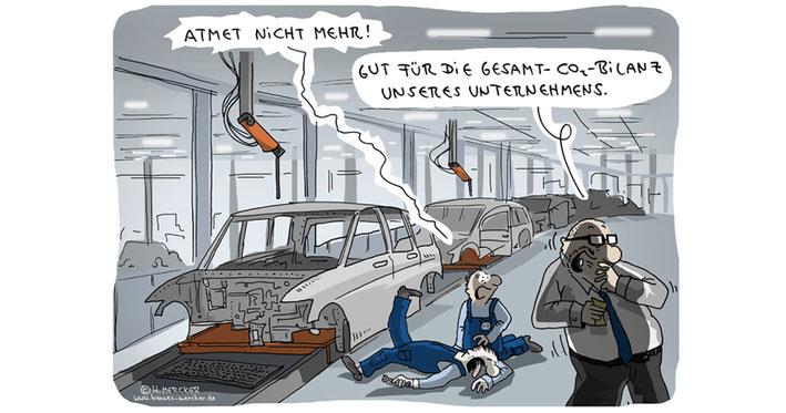 Tagesaktueller Cartoon von H. Mercker zum Abgasskandal der Automobilhersteller
