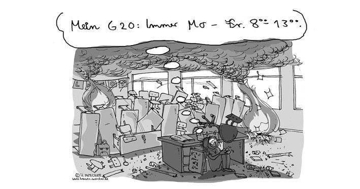 Tagesaktueller Cartoon von H. Mercker zum G20-Gipfel in Hamburg
