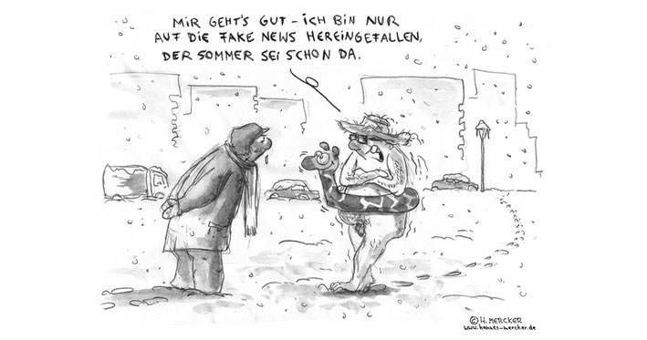 Tagesaktueller Cartoon von H. Mercker zum Thema Fake News, Januar 2016.
