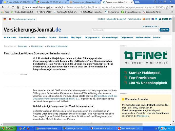 Artikel im VersicherungsJournal vom 19.09.2016 (Screenshot vom 20.09.2016)