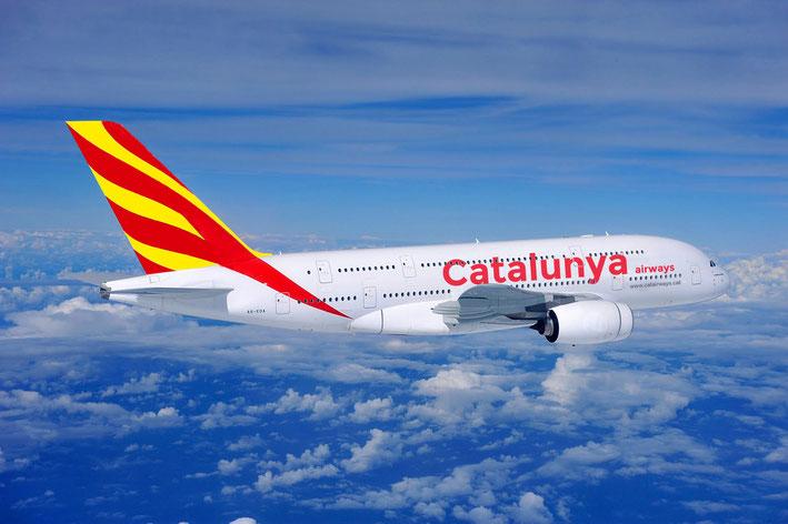 5 de setembre del 2017. Catalunya Airways inaugura el vol Barcelona Xangai amb el flamant A380 de dos pisos.