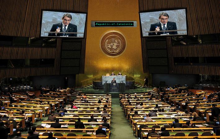 23 d'abril del 2018. Artur Mas pronuncia el seu discurs a l´Assemblea General de Nacions Unides com a nou Estat Membre.