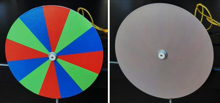 Disque avec des secteurs rouge, vert et bleu, à l'arrêt et en rotation
