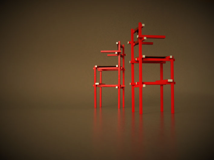 Weitere Bilder von Miniaturstühlen aus der Rietveld Sammlung. Diese Stühle wurden für Schelling Famile hergestellt.