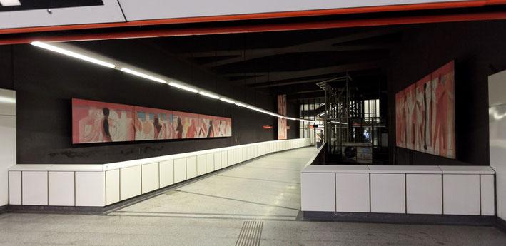 Bewegungen der Seele, 2005, 3-teilige Gemäldeinstallation, U3-Station Stubentor, 1010 Wien