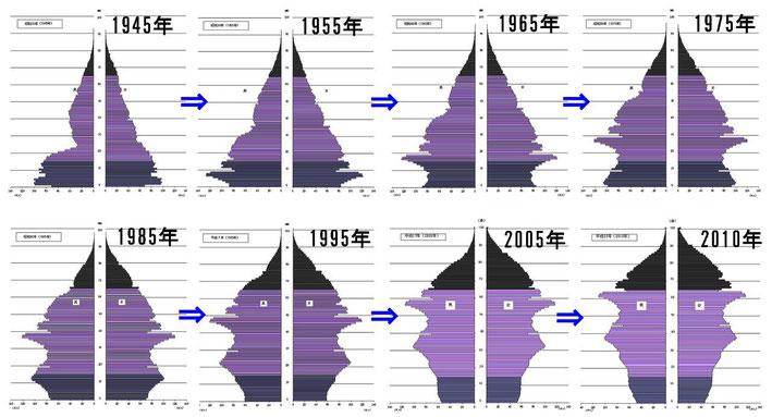 戦後の人口ピラミッド,人口構成の変化,データ,統計,推移,吉川浩一